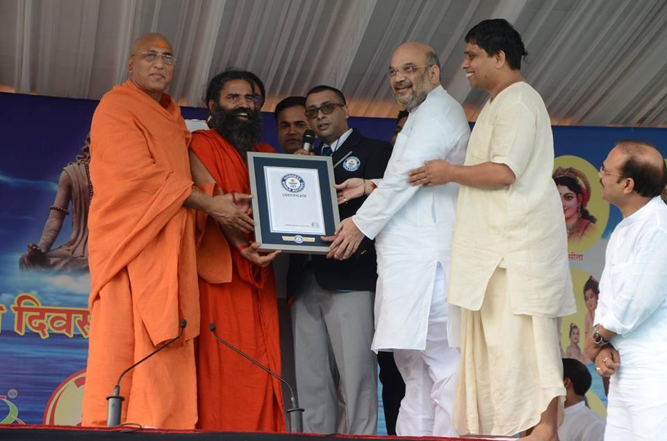 Balakrishna and Ramdev with BJP President Amit Shah in Patanjali
