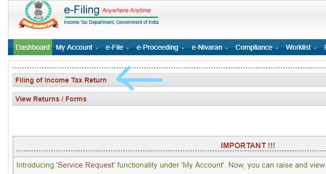 Income tax filling online